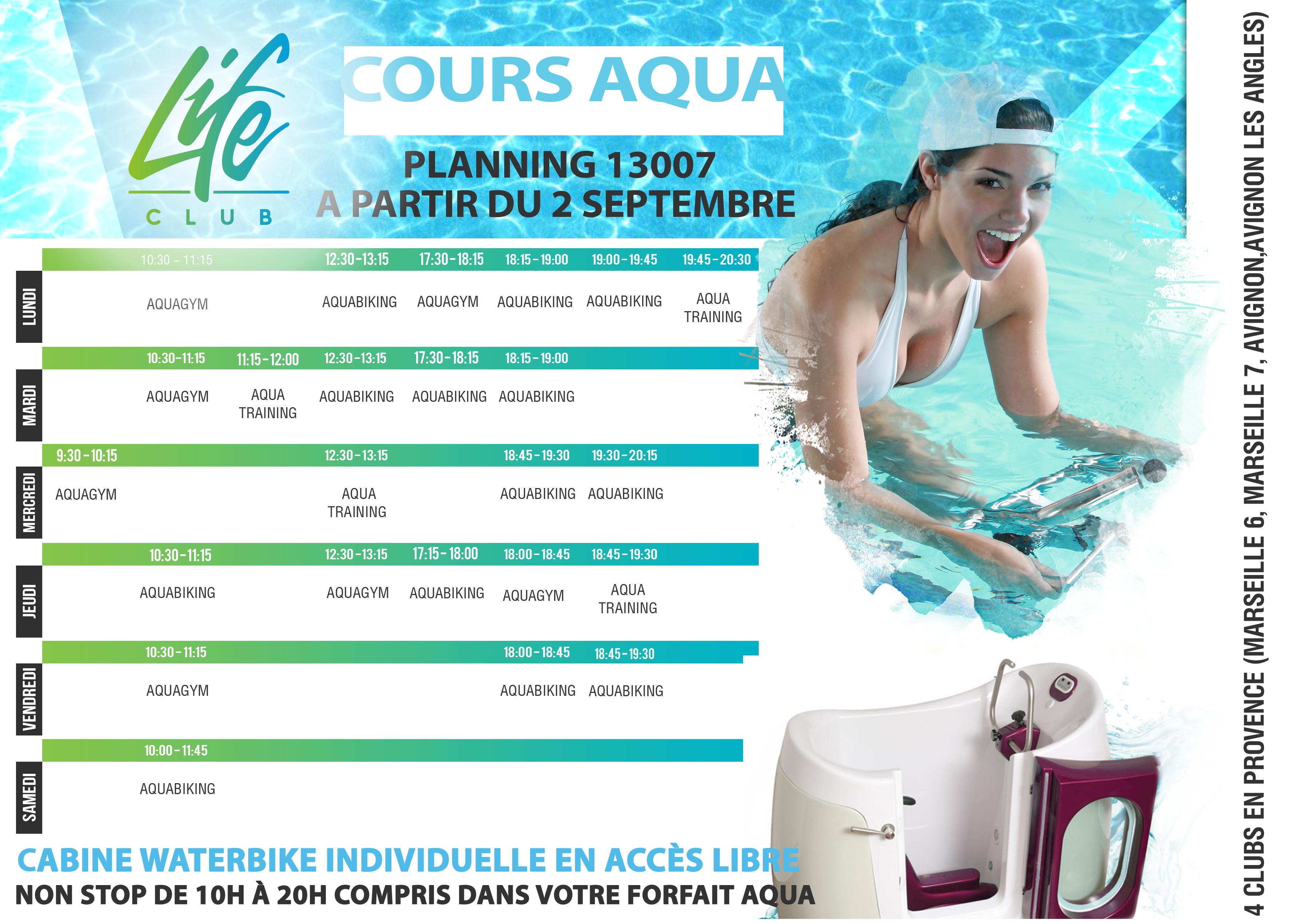 Cliquez sur le planning pour agrandir piscine aquabike 13007