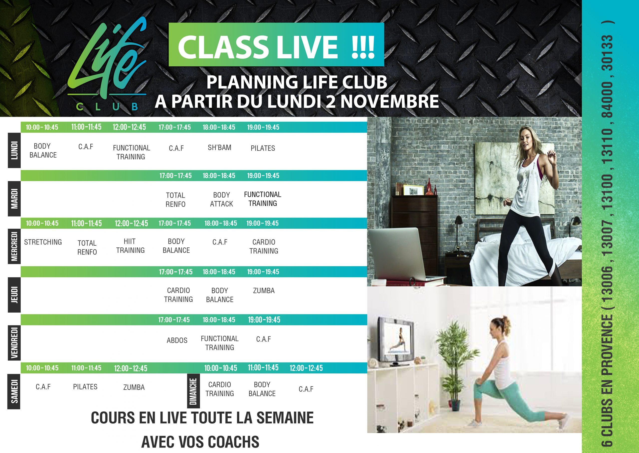 votre planning de cours de fitness live